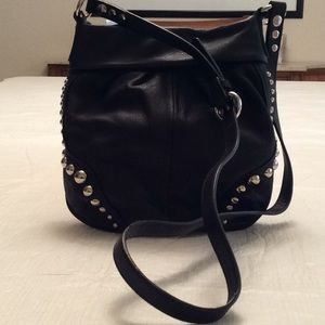 B.MAKOWSKY Black Pebble Leather Stud Crossbody Bag